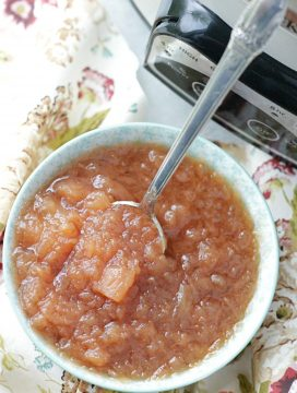 crockpot applesauce in dish with spoon