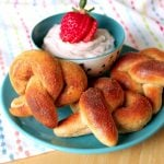 Cinnamon Sugared Pretzels with Strawberry Cream Cheese