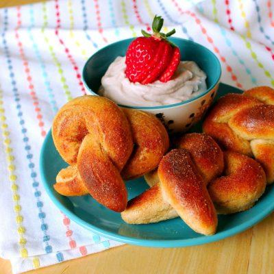 Cinnamon Sugared Pretzels with Strawberry Cream Cheese