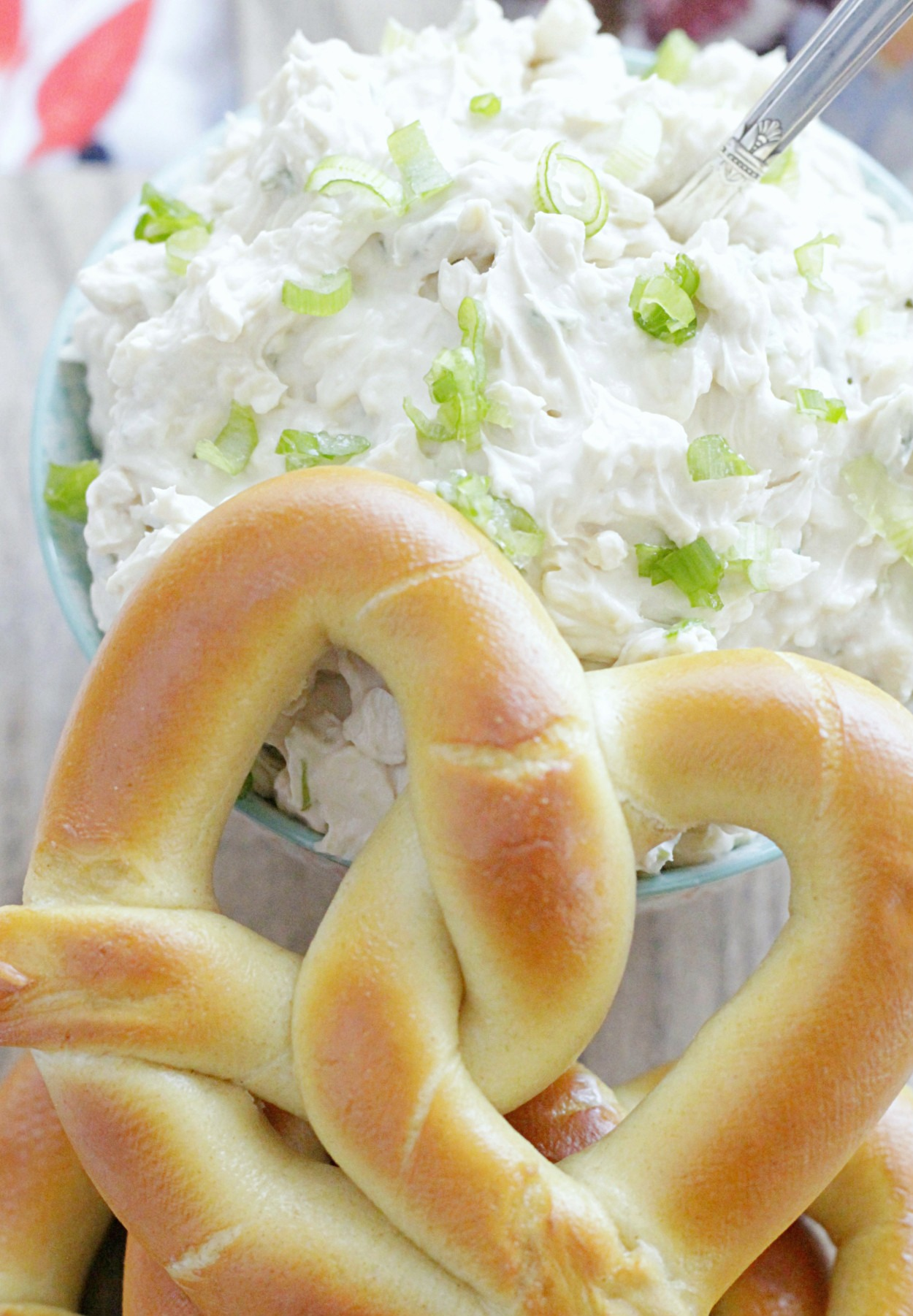 soft baked pretzel with Guinness cheddar dip