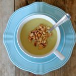 Potato Leek Soup with Broccoli and Pine Nuts