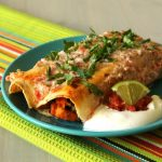 Sweet Potato, Black Bean and Kale Enchiladas