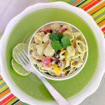 Mexican Pasta Salad with Toasted Garlic and Avocado Greek Yogurt Dressing