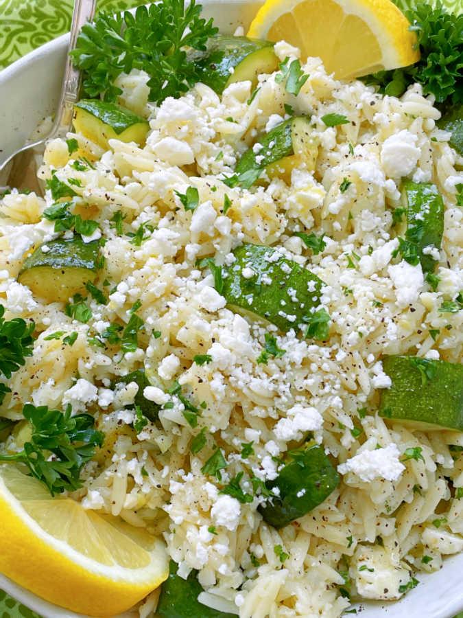 orzo pasta salad with zucchini and feta