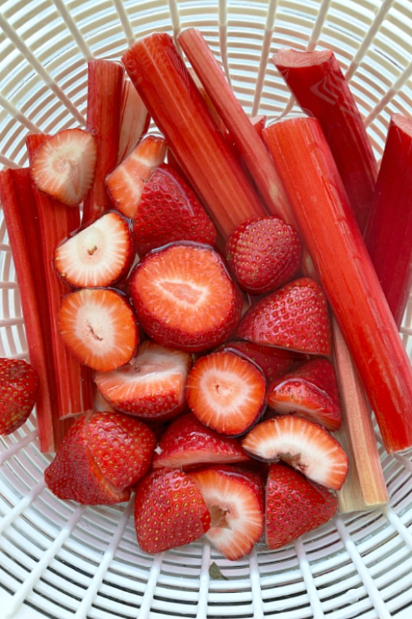 bright red strawberries and stalks of rhubarb