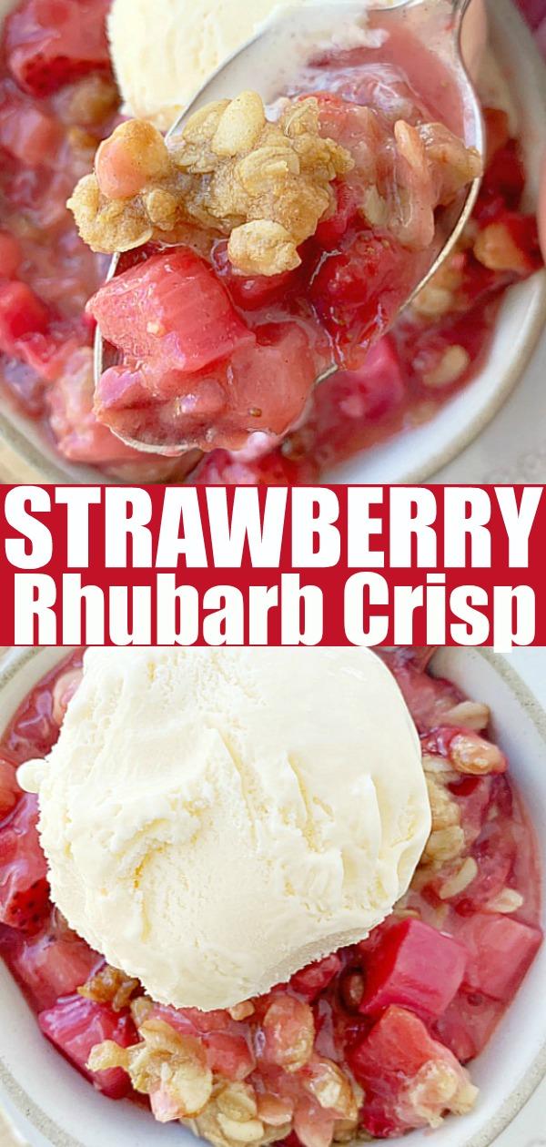 Strawberry Rhubarb Crisp   Foodtastic Mom #strawberryrhubarbcrisp #crisprecipe