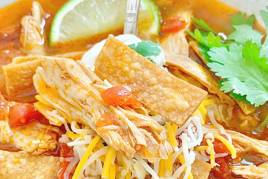 horizontal cropped shot of chicken tortilla soup topped with cheese and sour cream