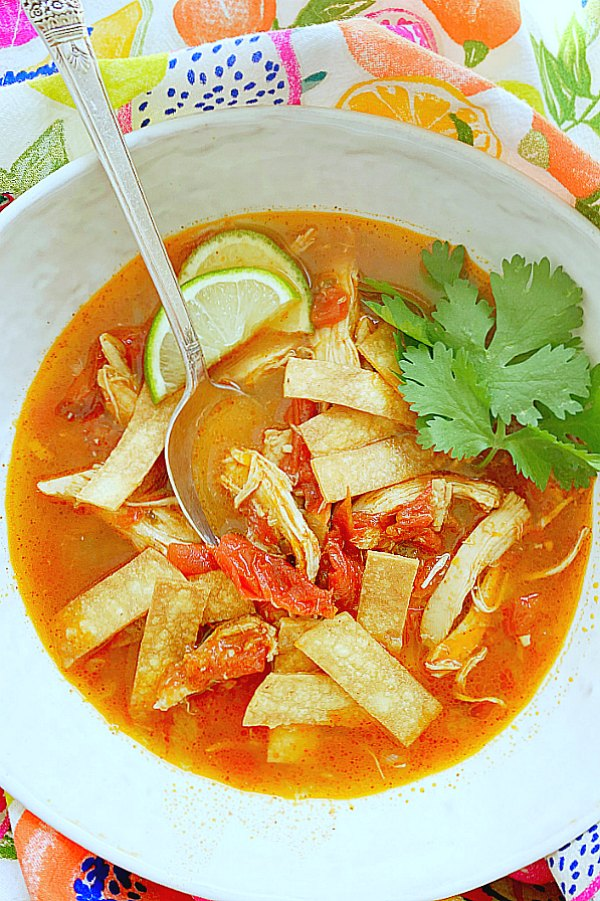 overhead view of tortilla soup - not garnished