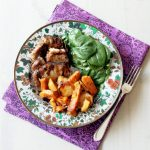 Slow Cooker Brown Sugar Balsamic Glazed Pork with Roasted Potatoes and Apples
