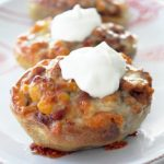 Potato Skins with Quick Bourbon Baked Bean Chili
