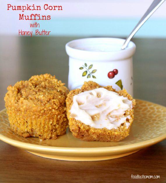 Pumpkin Corn Muffins with Honey Butter