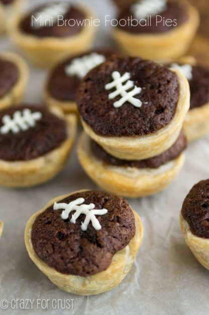 Mini Football Brownie Pies from Crazy for Crust