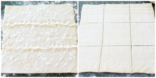 Preparing the puff pastry