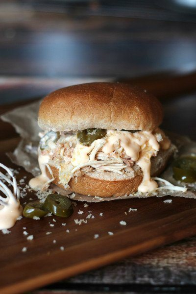 Jalapeno Popper Pulled Chicken Sliders from Food Fanatic