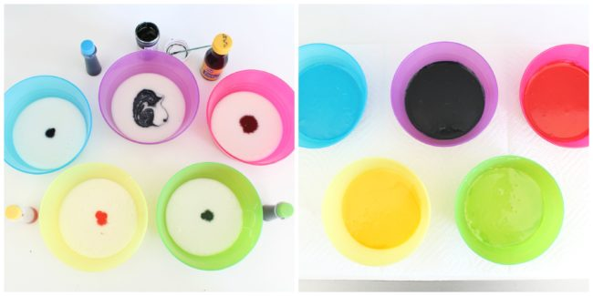 coloring glaze for Olympic donuts by Foodtastic Mom