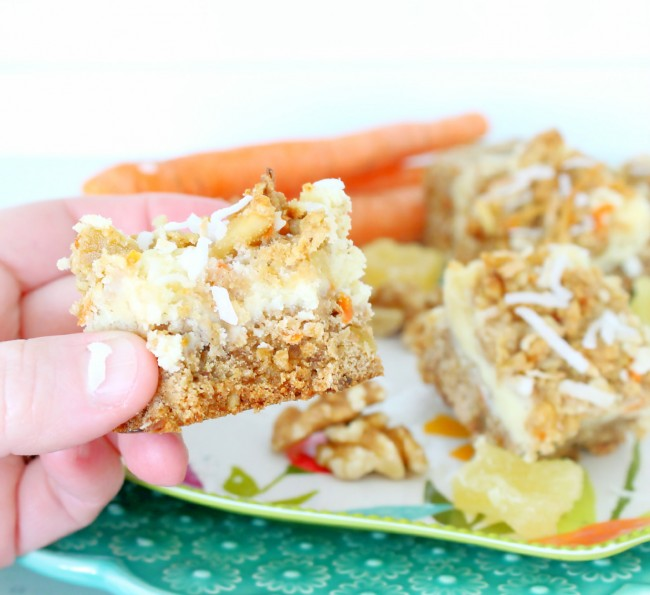 Carrot Cheesecake Crumb Bars by Foodtastic Mom