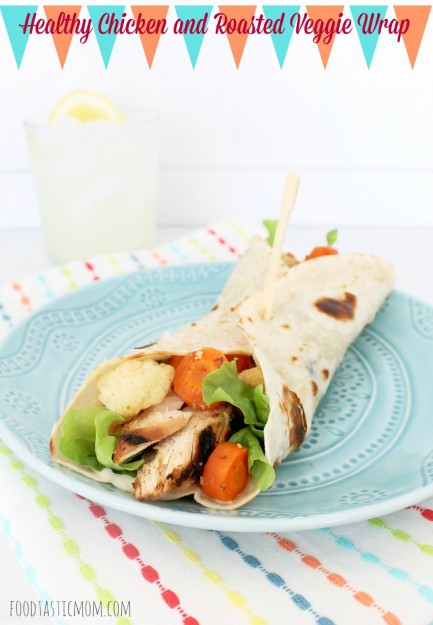 Healthy Chicken and Roasted Veggie Wrap by Foodtastic Mom