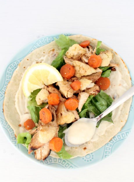 Healthy Chicken and Roasted Veggie Chicken Wrap by Foodtastic Mom