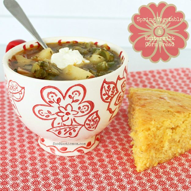Spring Vegetable Soup and Buttermilk Corn Bread by Foodtastic Mom