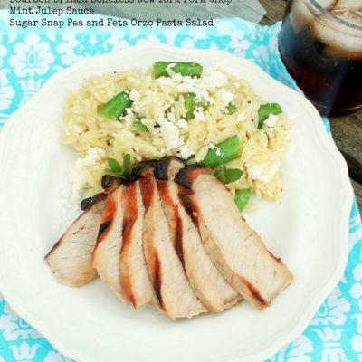 Bourbon Brined Pork with Mint Julep Pasta Salad