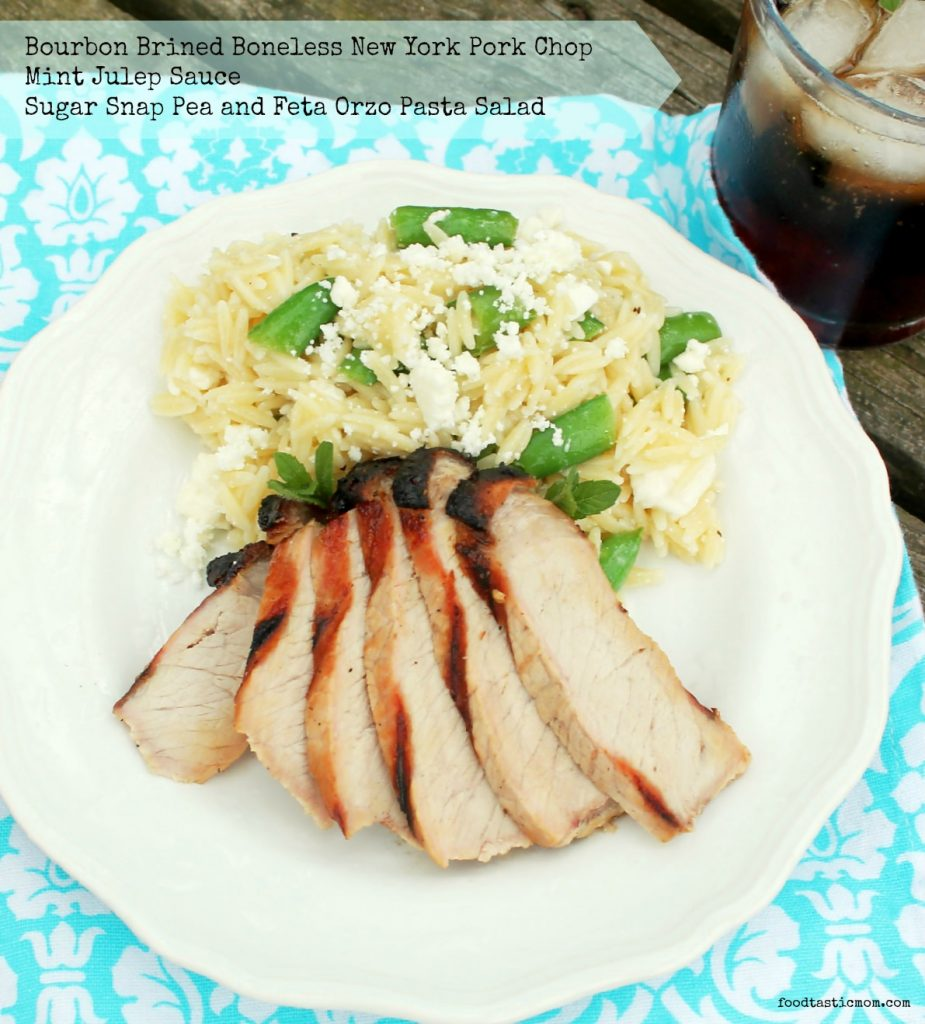 Bourbon Brined Pork with Mint Julep Pasta Salad