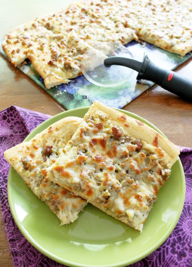 Layered Sausage and Artichoke Dip Pizza by Foodtastic Mom