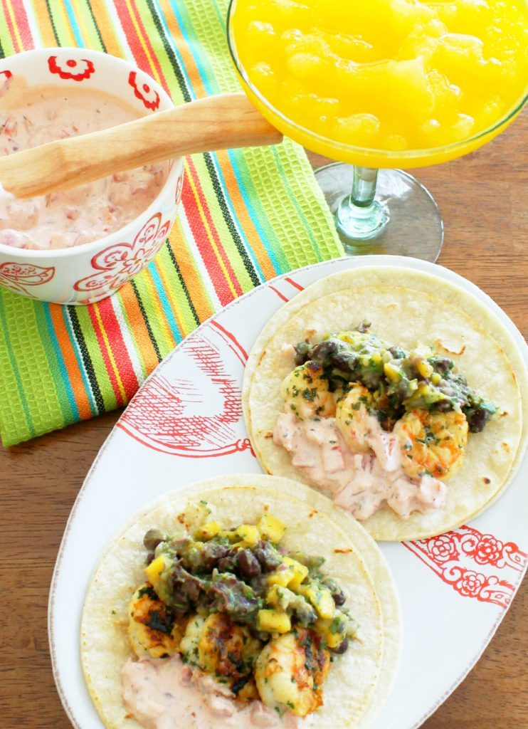 Grilled Honey Lime and Garlic Shrimp Tacos by Foodtastic Mom
