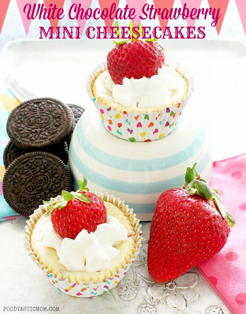 White Chocolate Strawberry Mini Cheesecakes