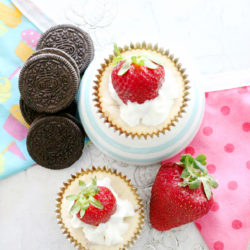 White Chocolate Strawberry Mini Cheesecakes by Foodtastic Mom