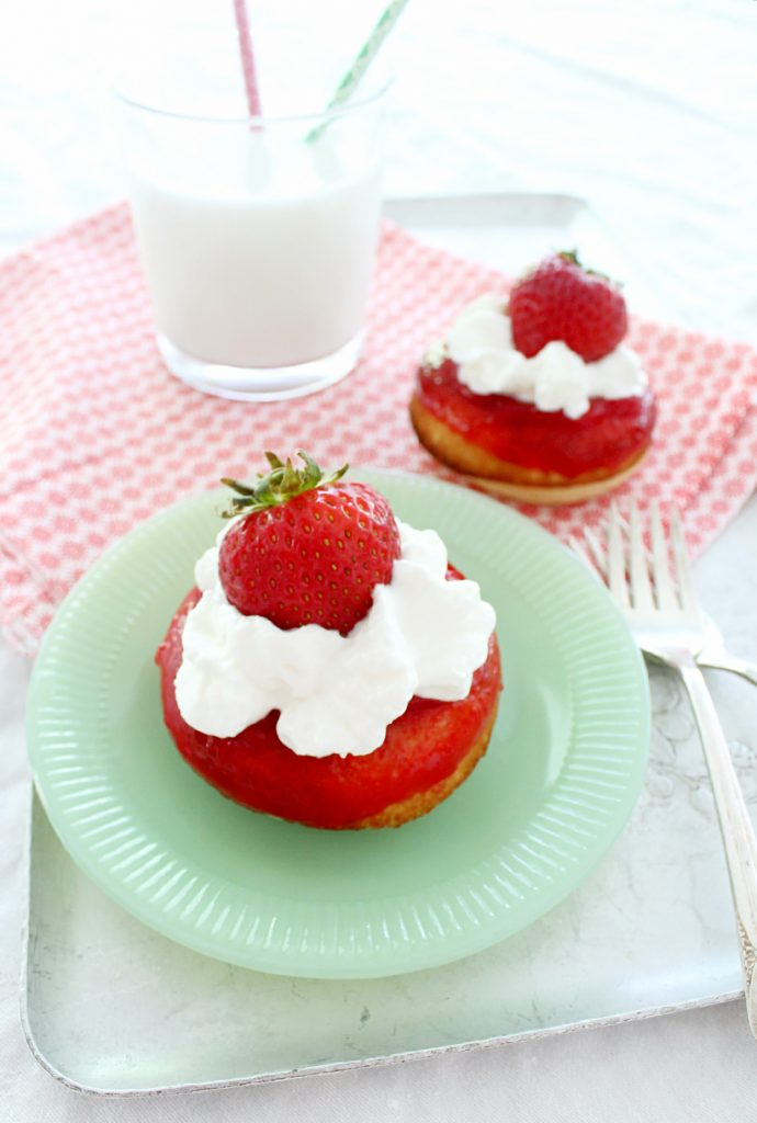 ... strawberry shortcake, but why not do a mash-up with a baked donut