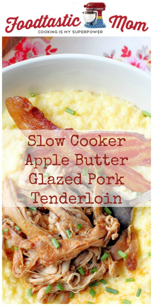 Slow Cooker Apple Butter Glazed Pork Tenderloin by Foodtastic Mom