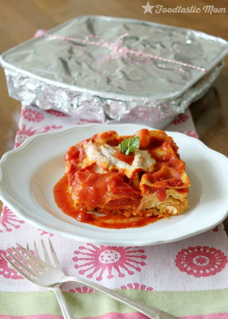 Chicken Margherita Freezer Lasagna with Ragu by Foodtastic Mom