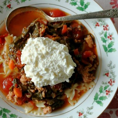 Slow Cooker Turkey Sausage Lasagna Soup