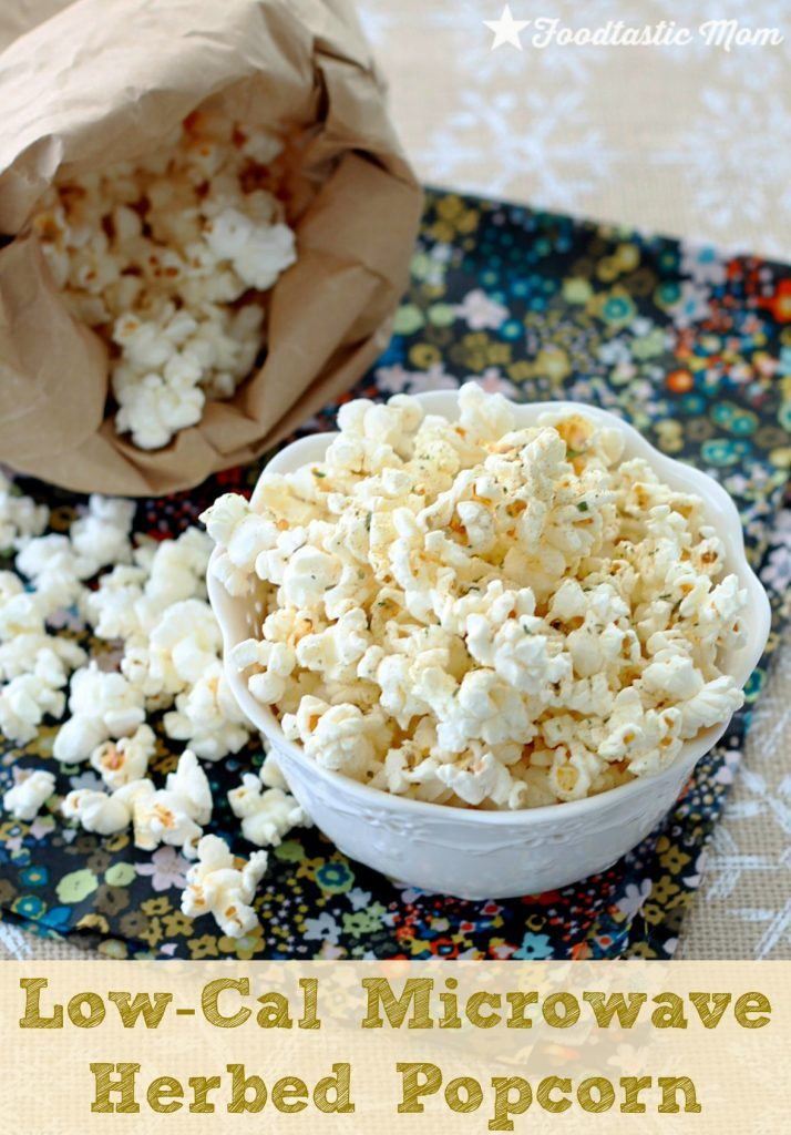 Low-Cal Microwave Herbed Popcorn by Foodtastic Mom