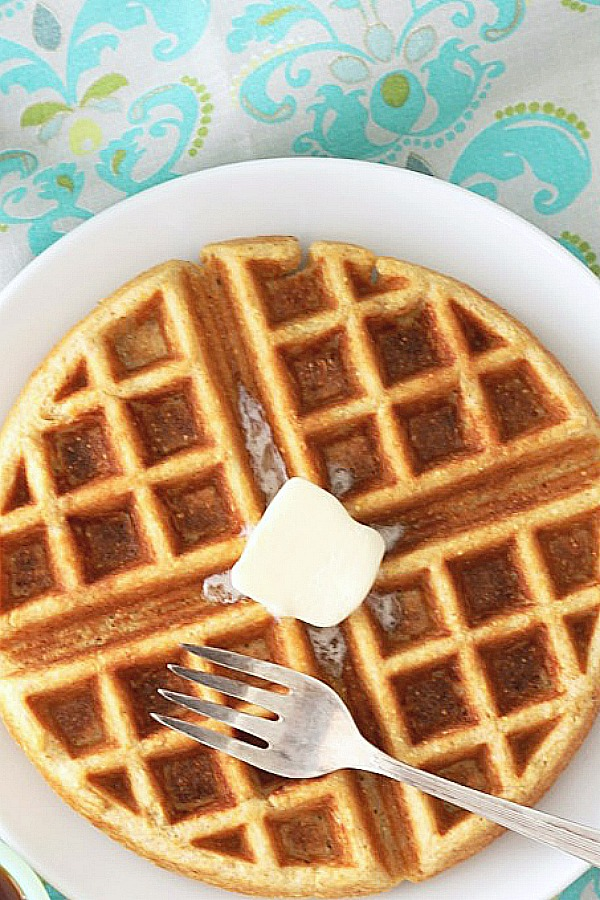 overhead view of whole grain belgian waffle