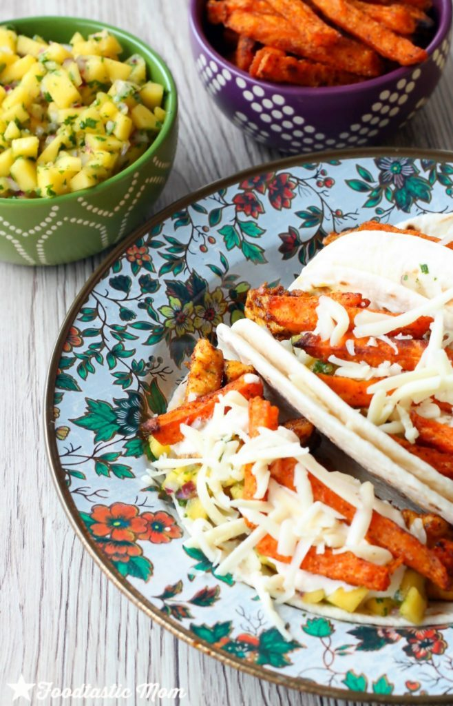 Jamaican Jerk Tacos with Alexia Sweet Potato Fries by Foodtastic Mom