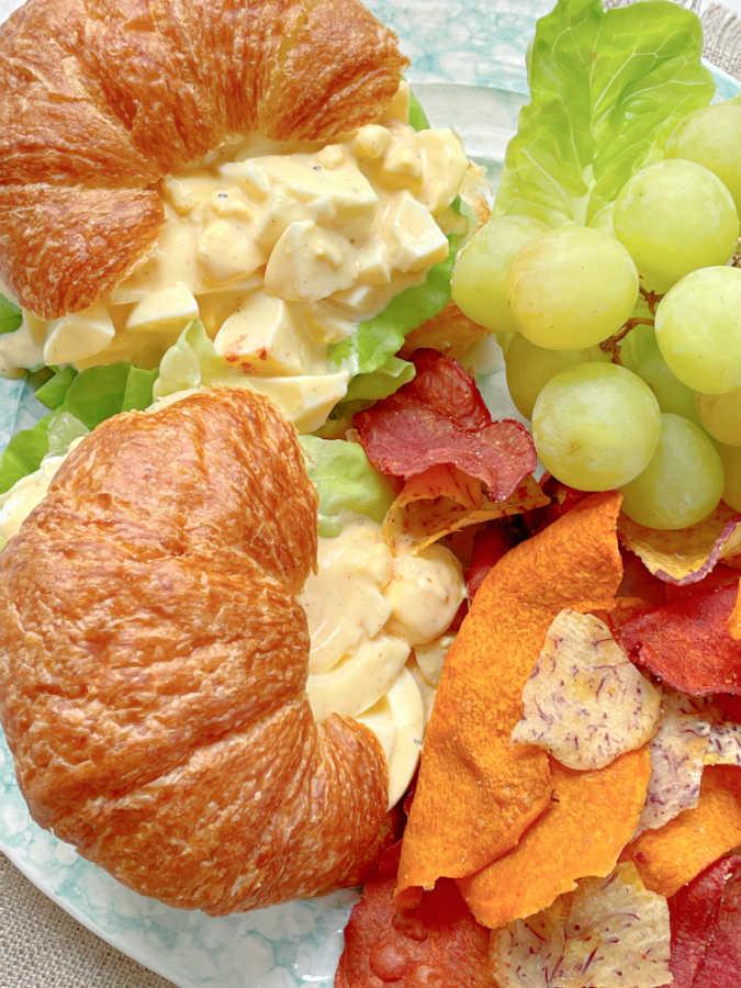 deviled egg salad on croissants