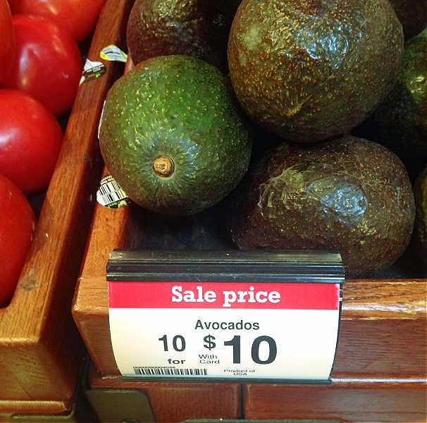 showing avocados on sale, 10 for $10