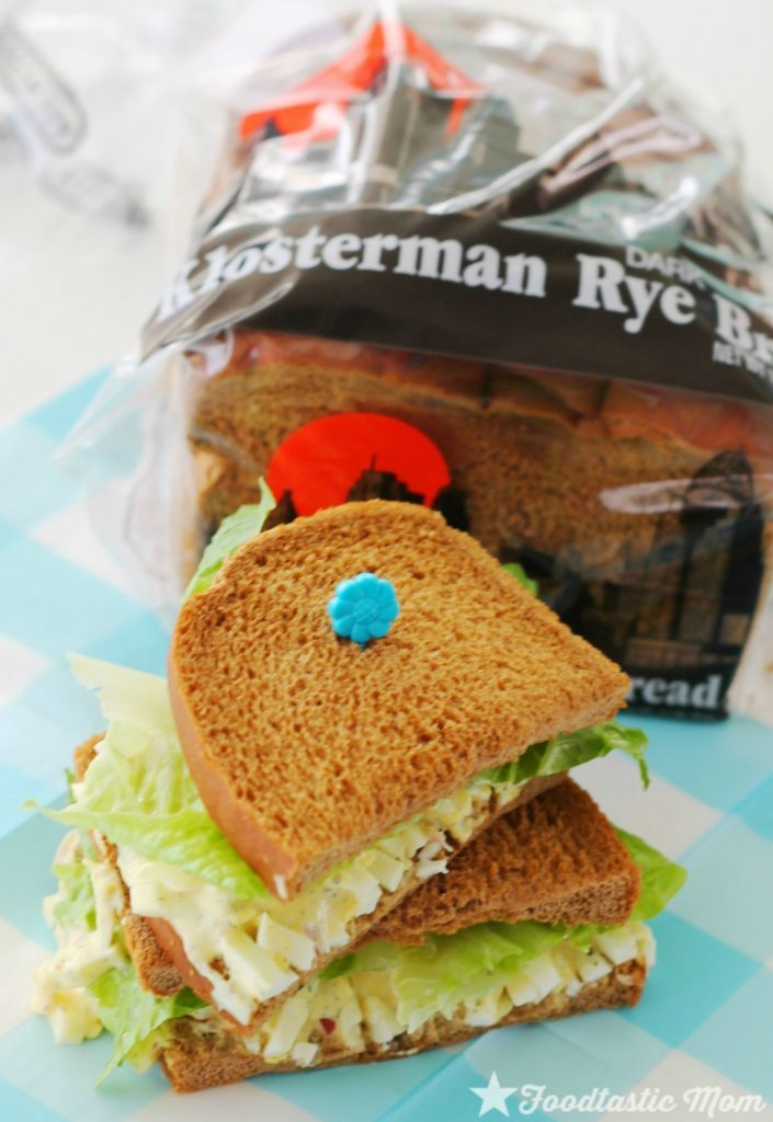 Deviled Egg Salad Sandwich on Klosterman Dark Rye Bread by Foodtastic Mom #packyourownlunchday