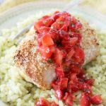 Jalapeno Popper Chicken with Strawberry Salsa and Guacamole Rice