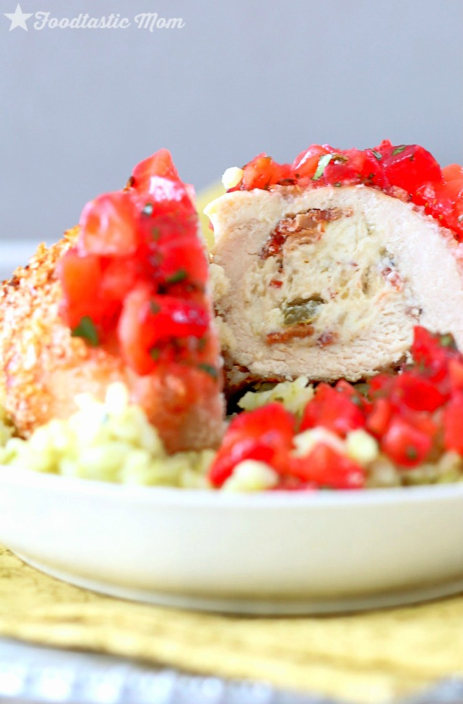 Cheesy Popper Chicken with Strawberry Salsa and Guacamole Rice by Foodtastic Mom