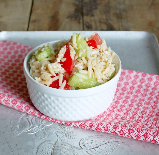 Orzo Pasta Salad with Tomatoes and Cucumbers by Foodtastic Mom