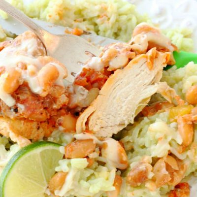 Salsa Chicken with Avocado Lime Rice