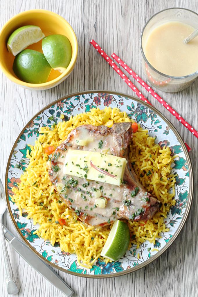 Pina Colada Ribeye Bone-In Pork Chops by Foodtastic Mom #GrillPork
