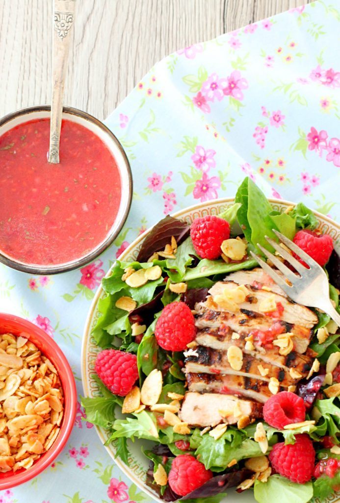Raspberry Grilled Chicken Salad with Candied Cayenne Almonds by Foodtastic Mom #MazolaCornOil