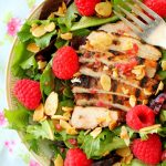 Raspberry Grilled Chicken Salad with Candied Cayenne Almonds