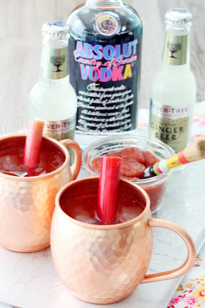 Rhubarb Moscow Mules by Foodtastic Mom