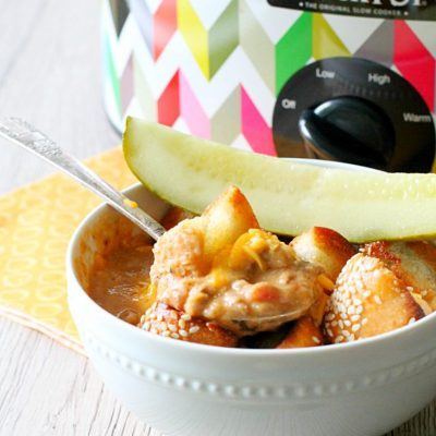 Slow Cooker Cheeseburger Soup by Foodtastic Mom