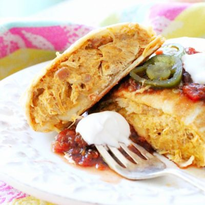 Cheesy Chicken Chimichangas for the Crockpot by Foodtastic Mom