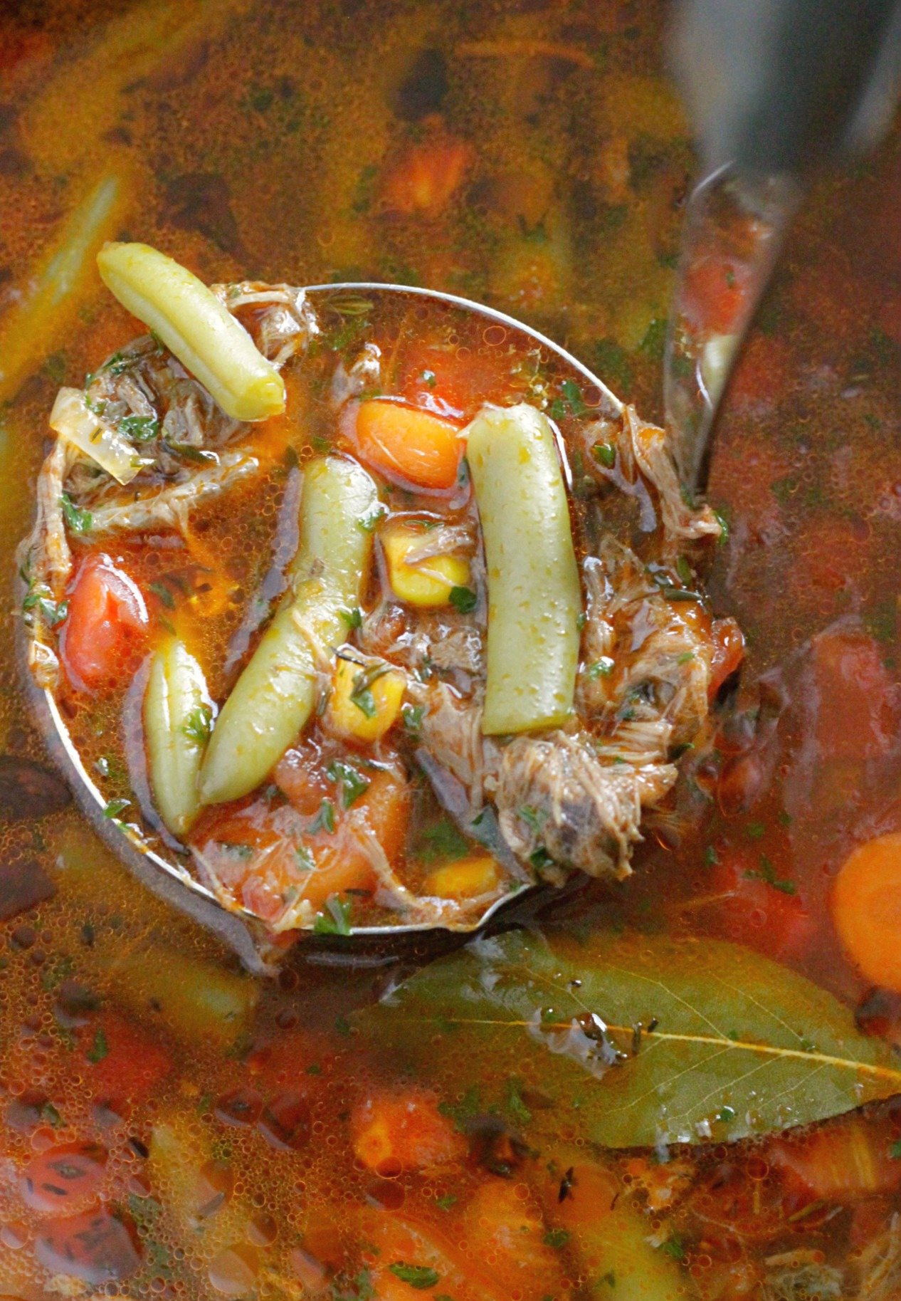 soup ladle filled with beef vegetable soup